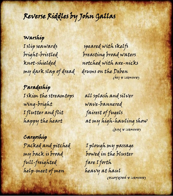 Reverse Riddles written by John Gallas for the #suttonhooship
